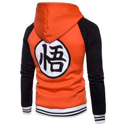 Veste-a-Capuche-Dragon-Ball-Z-Kanji-Go-Orange-Noir-dos