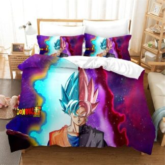 Housse-de-Couette-Dragon-Ball-Super-Goku-SSJ-Bleu-Rose
